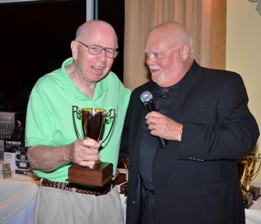 10 Walt Carnes accepts Trophy for Best Biplane from Frank Tiano at the Top Gun 2013 Awards Banquet