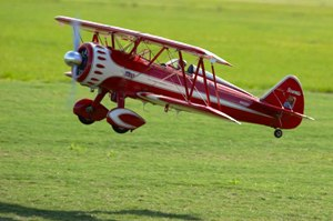 21 Stearman with landing lights dow on take offn