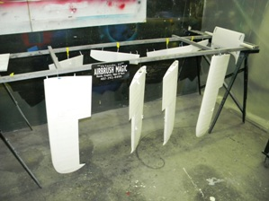 2 Wings & ailerons sprayed with base coat Randolph white.