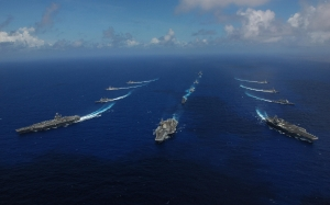 3 USS Ronald Reagan (right), USS Kitty Hawk (middle) & USS Abraham Lincoln