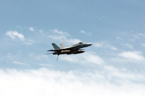 "5 FA-18E Super Hornet assigned to the ""Eagles"" of Strike Fighter Squadron One"