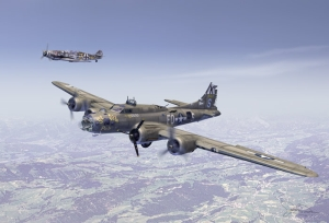 B-17F_Ye_Olde_Pub_in_front___Bf_109_In_back_as_escort[1]